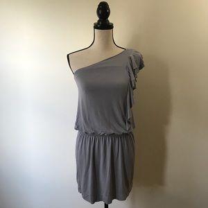 Express - Grey One Shoulder Dress w/ Ruffles